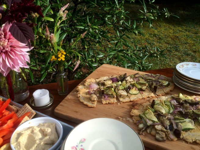 Homemade Olive Oil Flatbread with Hummus and Roasted Vegetables