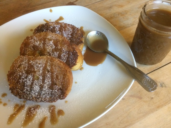 Pumpkin french toast with salted caramel and pumpkin cream cheese tyler j. mccall from leaves and beards